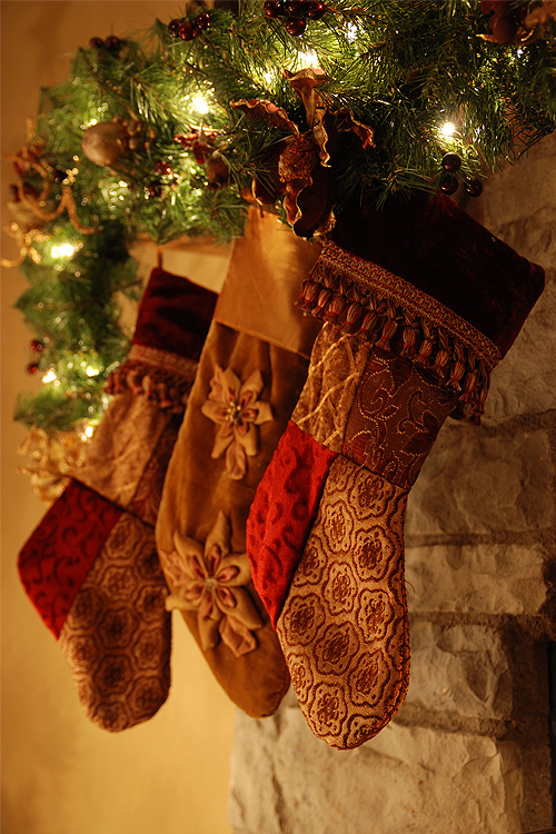 Seasonal decorating at Christmas stockings hung for Saint Nicolas