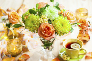 A table elegantly set and decorated for special occasion