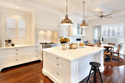 A well lit kitchen showcasing its brightness during homestaging
