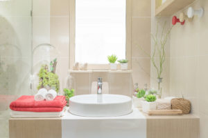 Interior decoration of a bathroom for home staging a residence in Edmonton