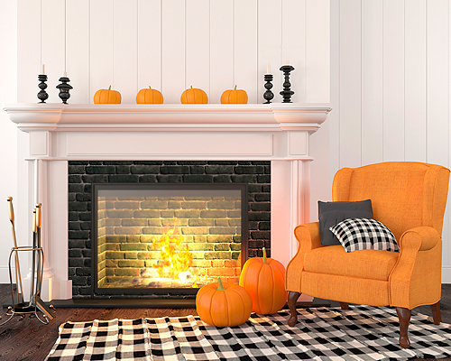 A home interior decorated with fall holiday decor and seasonal decorating colors for Halloween