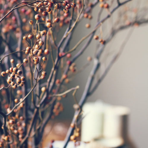 Seasonal decorating in a home for the fall season